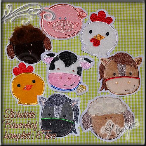 Kuh, Pferd, Esel, Schwein, Schaf, Lamm, Huhn und Küken als Applikation zum selber sticken mit der Stickmaschine