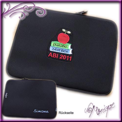 Bestickte Laptophülle zum bestandenen Abitur