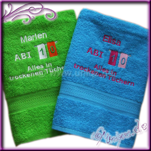 Abi 2010: Duschtücher in peppigen Farben als Geschenk zum bestandenen Abitur
