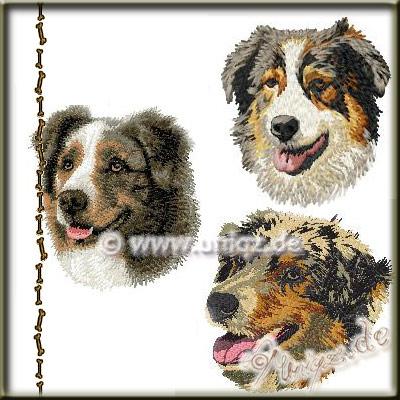 Fotorealistische Stickerei: Australian Shepherd / Aussie