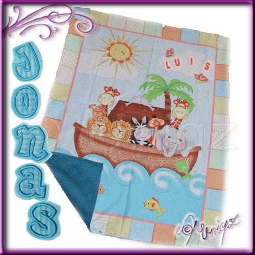 Materialpackung - Babydecke ARCHE NOAH mit fertig gestickten Buchstaben
