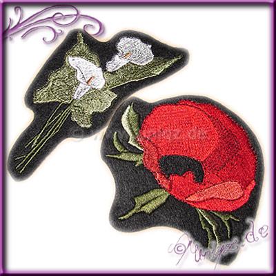 Blütenstickereien zum selbst aufnähen: Calla und Klatschmohn auf schwarzem Filz