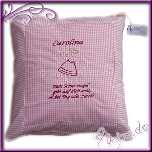 Schutzengelchen stilisiert auf rosa-weißem Vichykaro- und Streifenmix, mit Namen. Prima als Geburtsgeschenk oder von Paten zur Taufe.