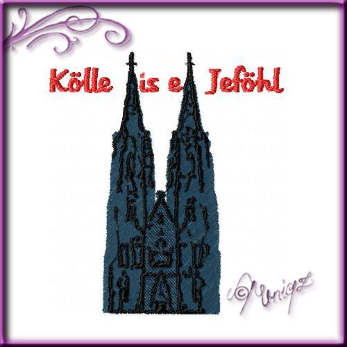 Stickerei: Kölner Dom mit Wunschtext