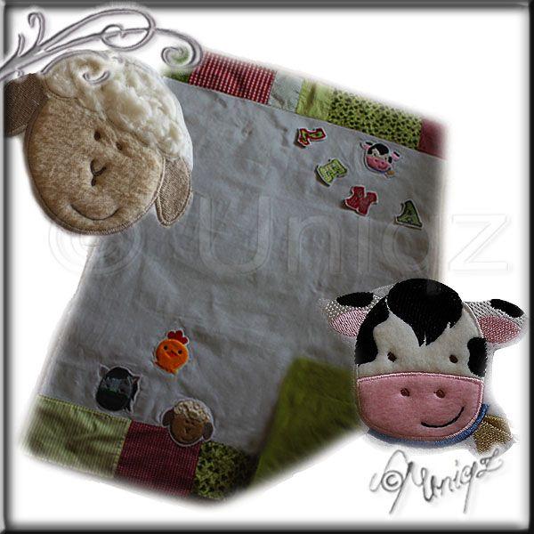 Babydecke mit Applikationen aus der Serie Bauernhof