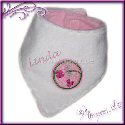 Halstuch mit Libelle, zweiseitig tragbar, rosa/weiß. In vielen Farbvariationen lieferbar.