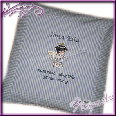 Personalisiertes Kissen als Geschenk zur Taufe oder Geburt.