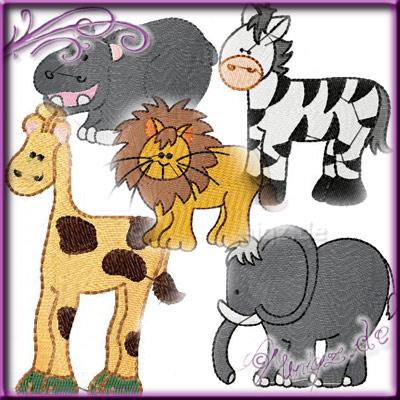 Noahs Arche: Elefant,Nilpferd, Giraffe, Zebra und Löwe geben sich die Ehre.