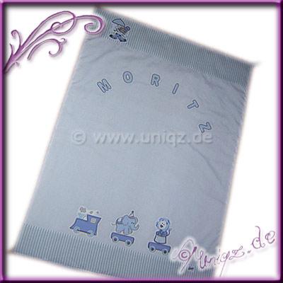 Edle Apllikationsdecke mit Zirkuszug und Namen, Geschenk zur Taufe oder Geburt