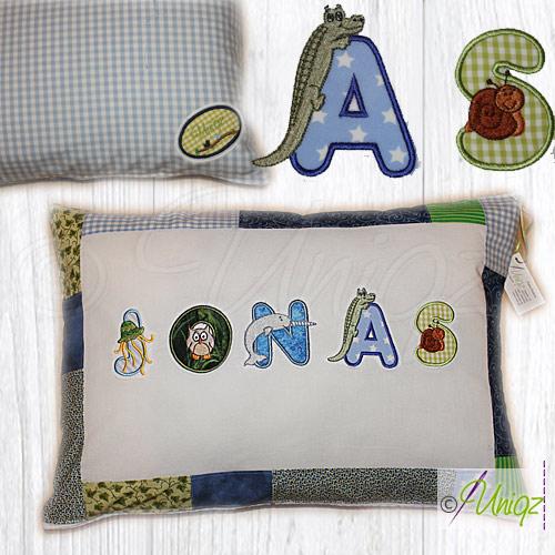 Kinderkissen mit Tierbuchstaben blau/grün