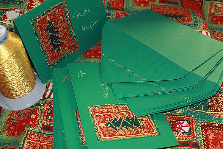 Genaehte Weihnachtskarten