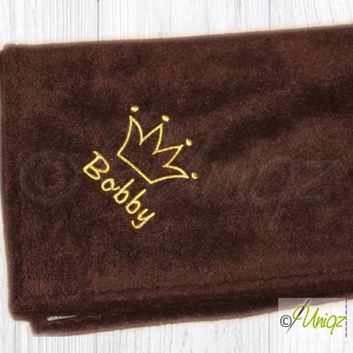 Hundedecke mit Krone und Namen, braun