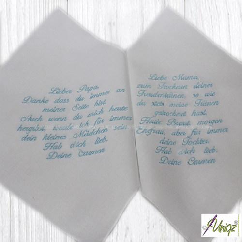 Freudentränen Taschentücher, bestickt mit Text für Mama und Papa