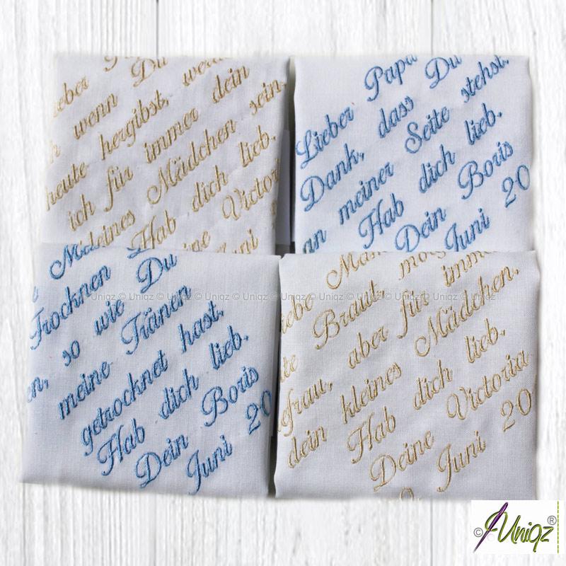 Freudentränen-Taschentücher mit eigenem Text bestickt