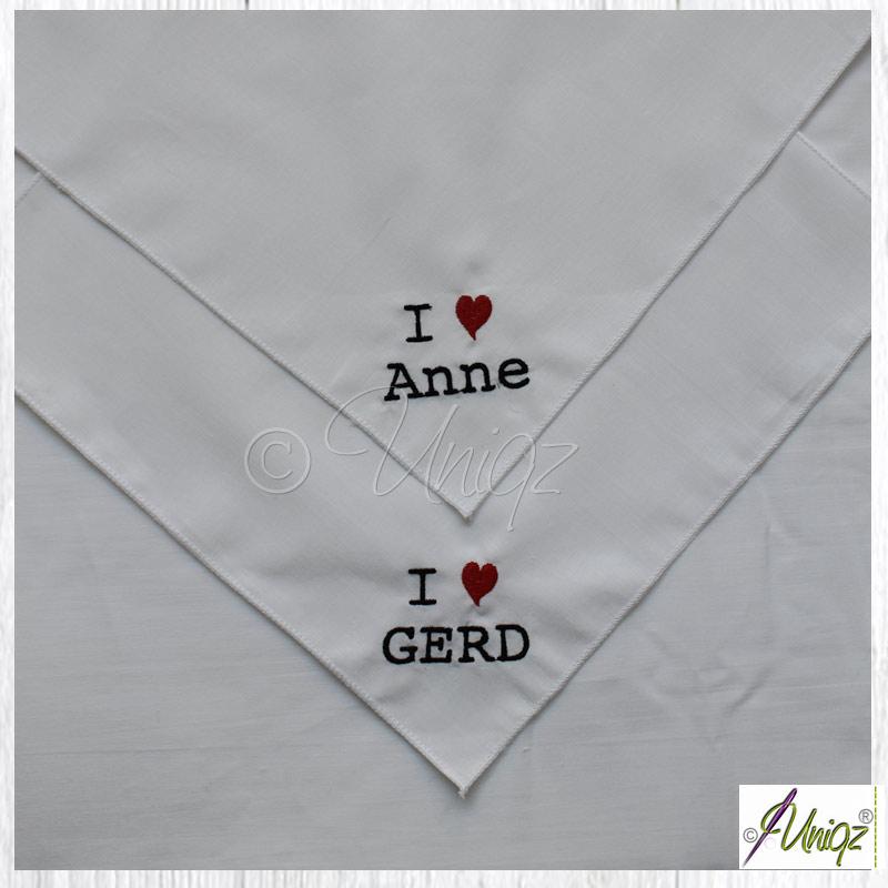 Freudentränen-Taschentücher, Stickerei: Kunden - Sonderwunsch