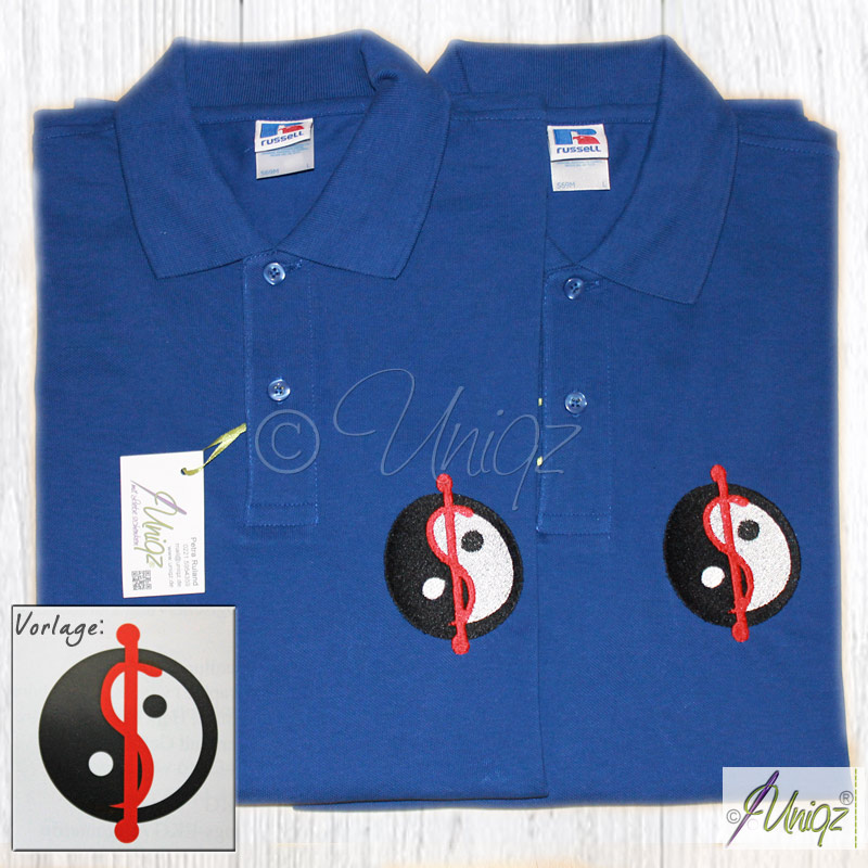 Individuelles Logo, gestickt auf Poloshirts