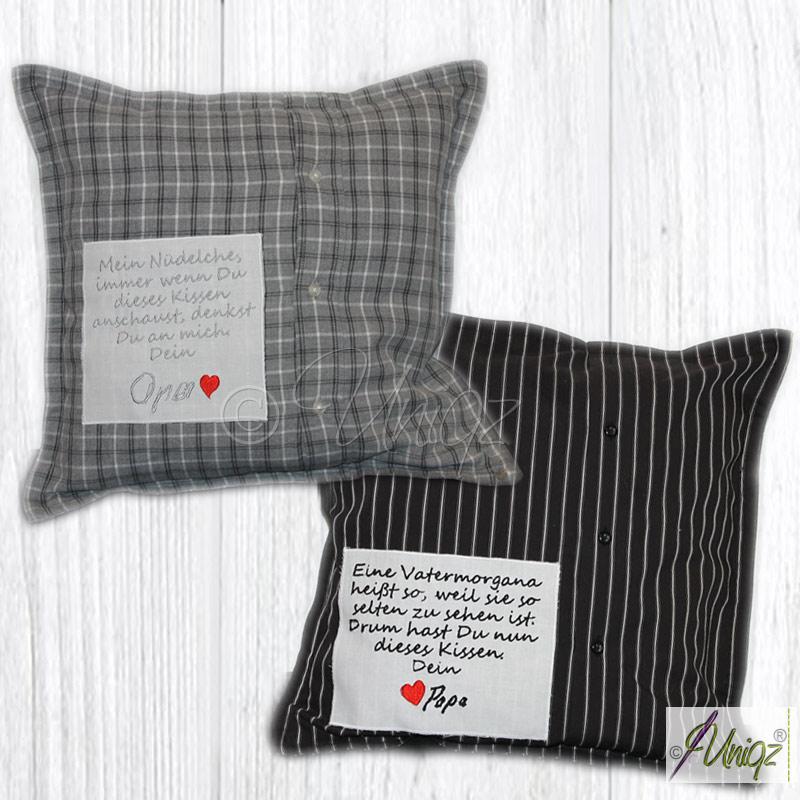 Memory-Kissen aus Hemd oder Bluse als Erinnerung an einen geliebten Menschen.