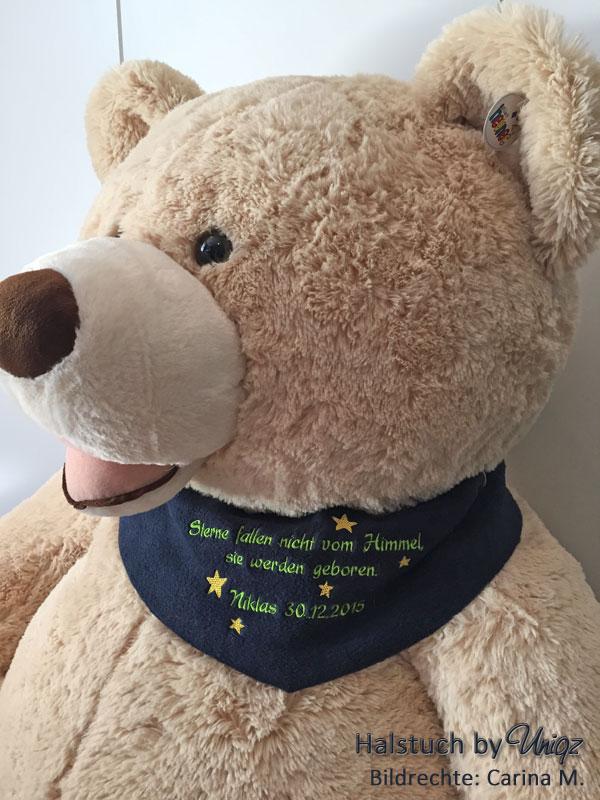 Teddyhalstuch mit individueller Stickerei, Taufgeschenk