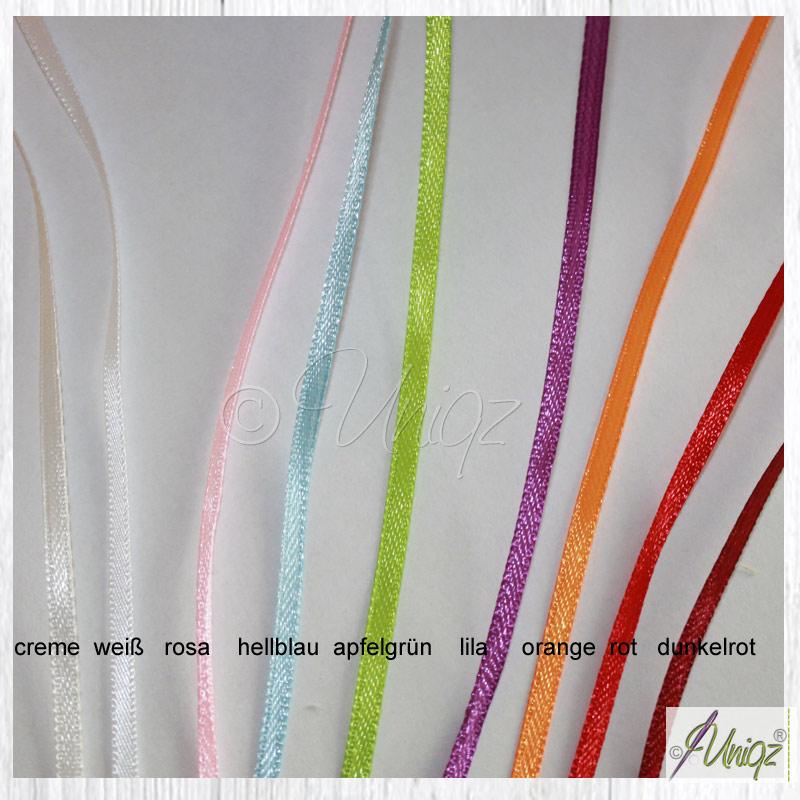 Farbauswahl, Satinbänder für Pergamintütchen.