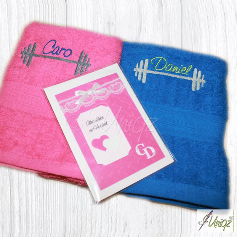 Handtuchset Fitness, Hochzeitskarte pink
