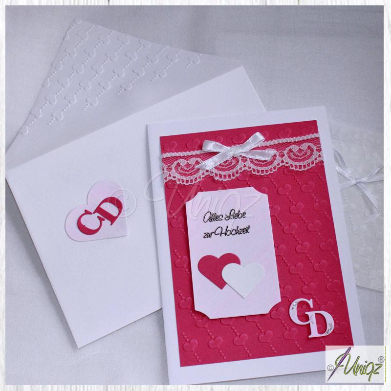 Hochzeitskarte in pink-weiß mit Initialen