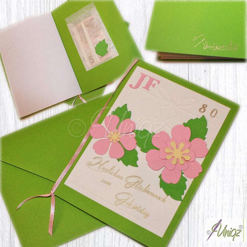 Geburtstagskarte mit Blüten, Initialen und Zahl, incl. Geldtütchen