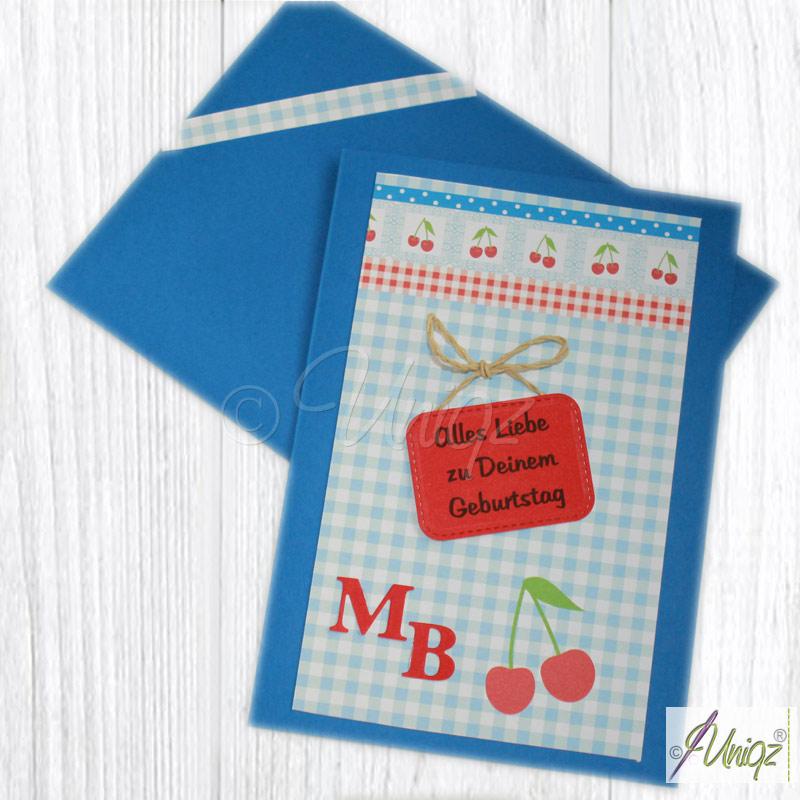 Individuelle Geburtstagskarte mit Initialen und Designpapier