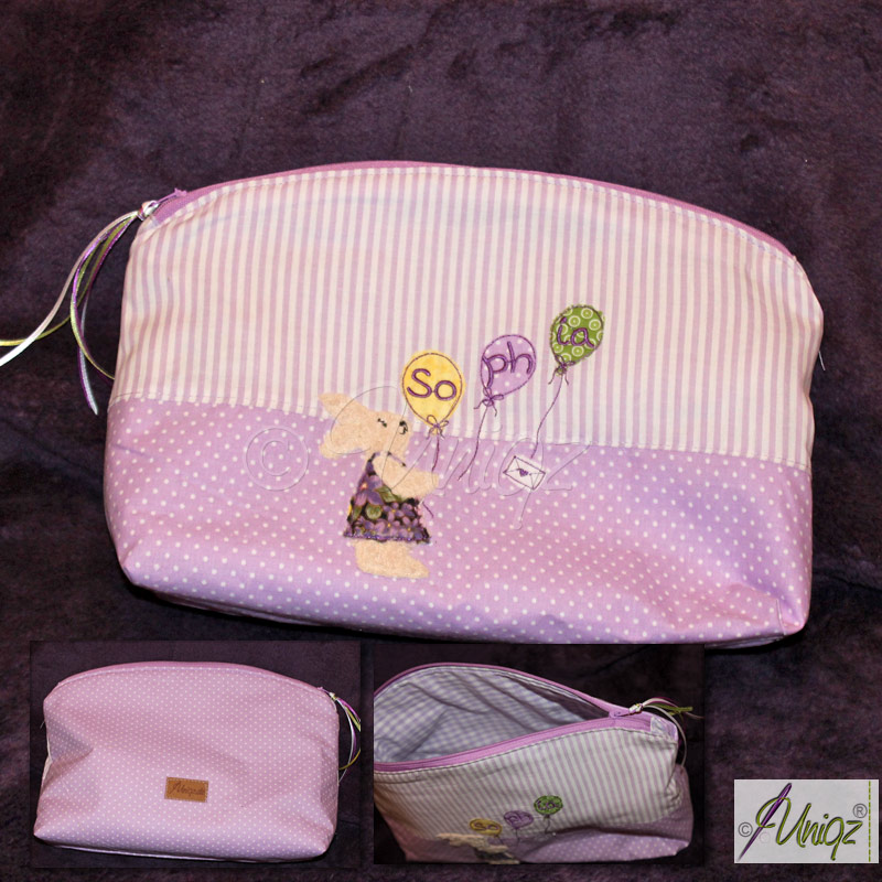Kinder Kulturtasche/Windeltasche mit Namen und Hasenmotiv