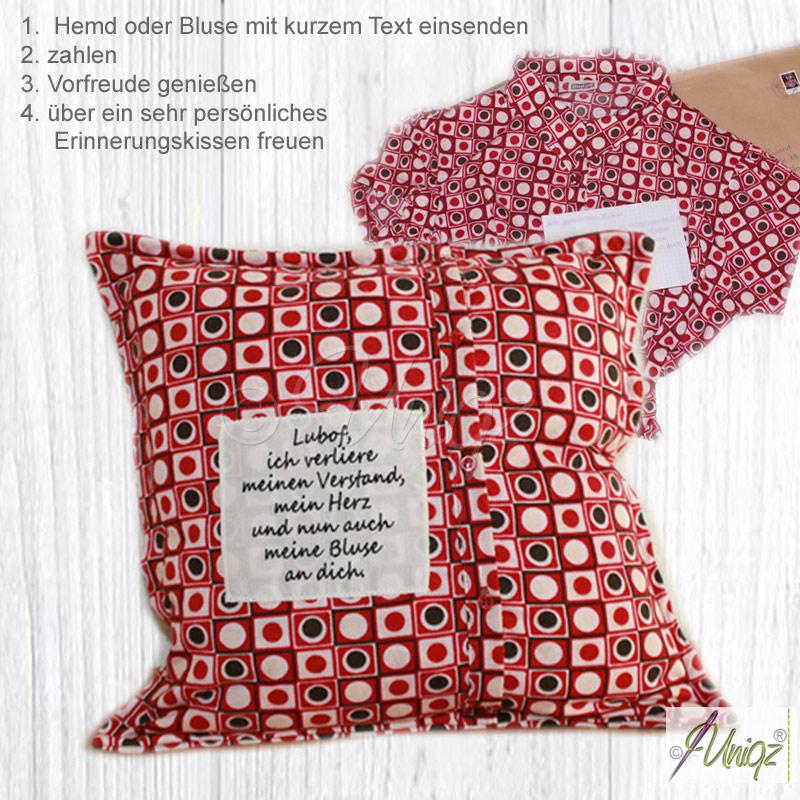 Vergissmeinnicht-Kissen, angefertigt aus Ihrer Bluse