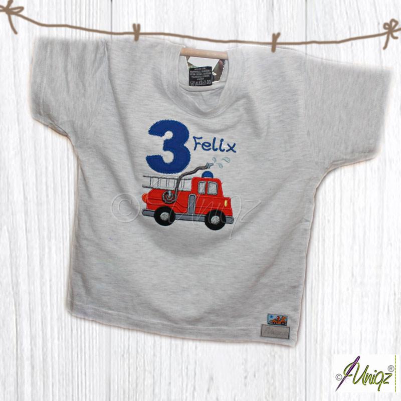 Feuerwehr - Geburtstags T-Shirt mit Zahl und Namen bestickt