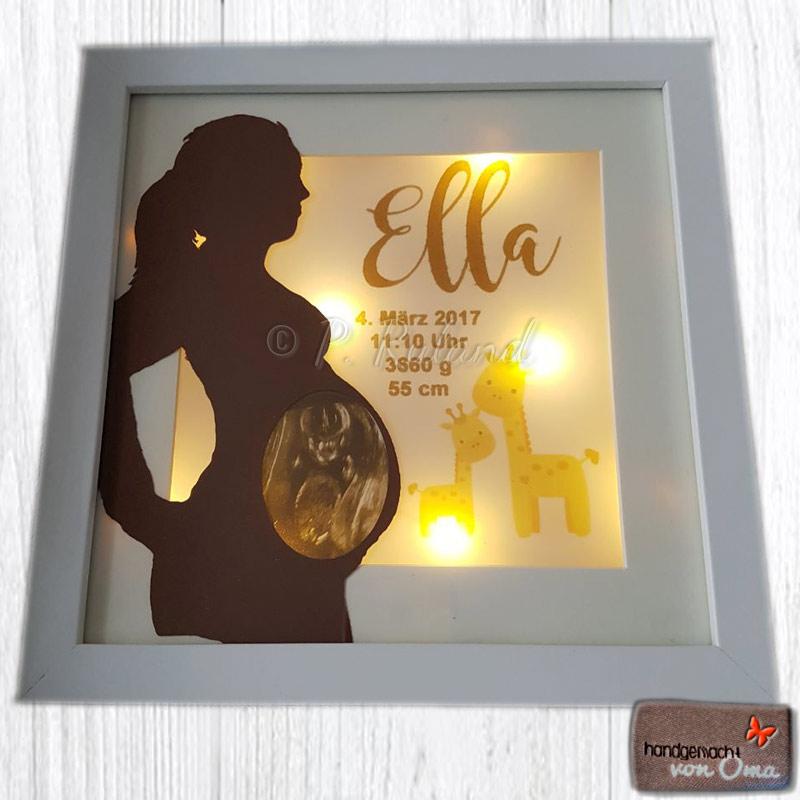 Schwangeren Silhouette mit Ultraschallbild und Geburtsdaten