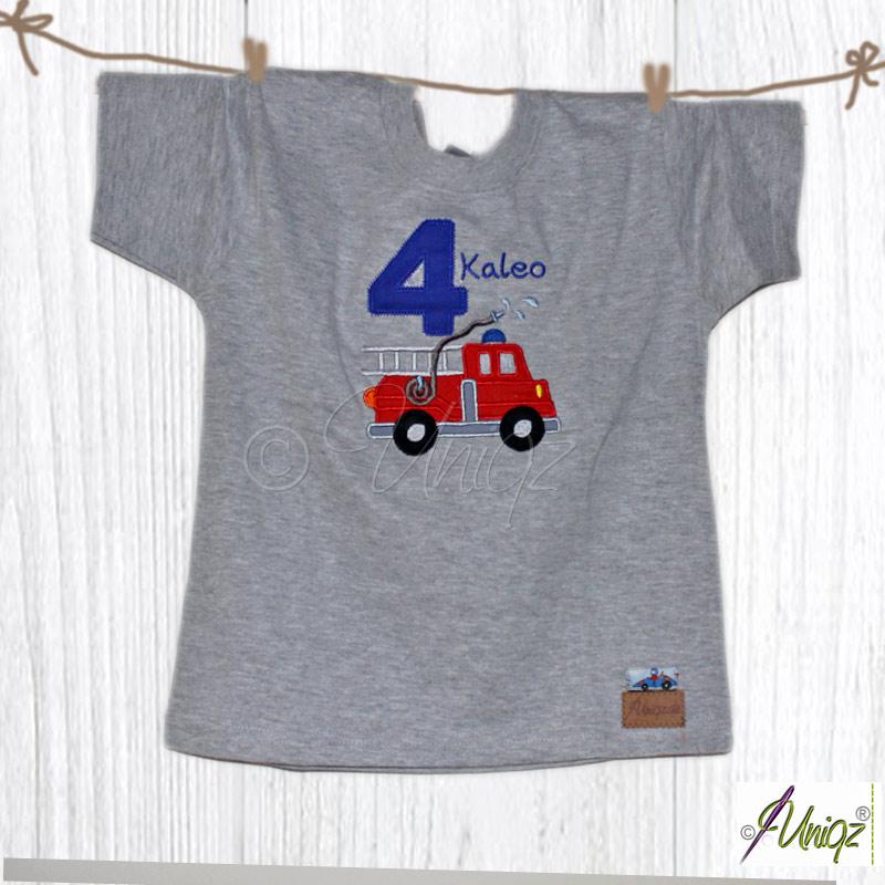 Geburtstags T-Shirt mit Zahl, Namen und Feuerwehr