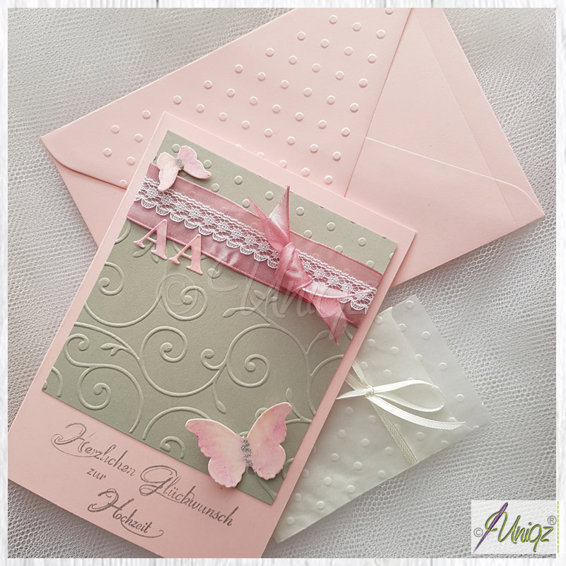 Glückwunschkarte Hochzeit, rosa-grau