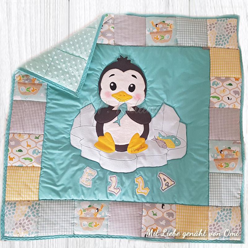 Krabbeldecke mit Pinguin fürs Enkelbaby