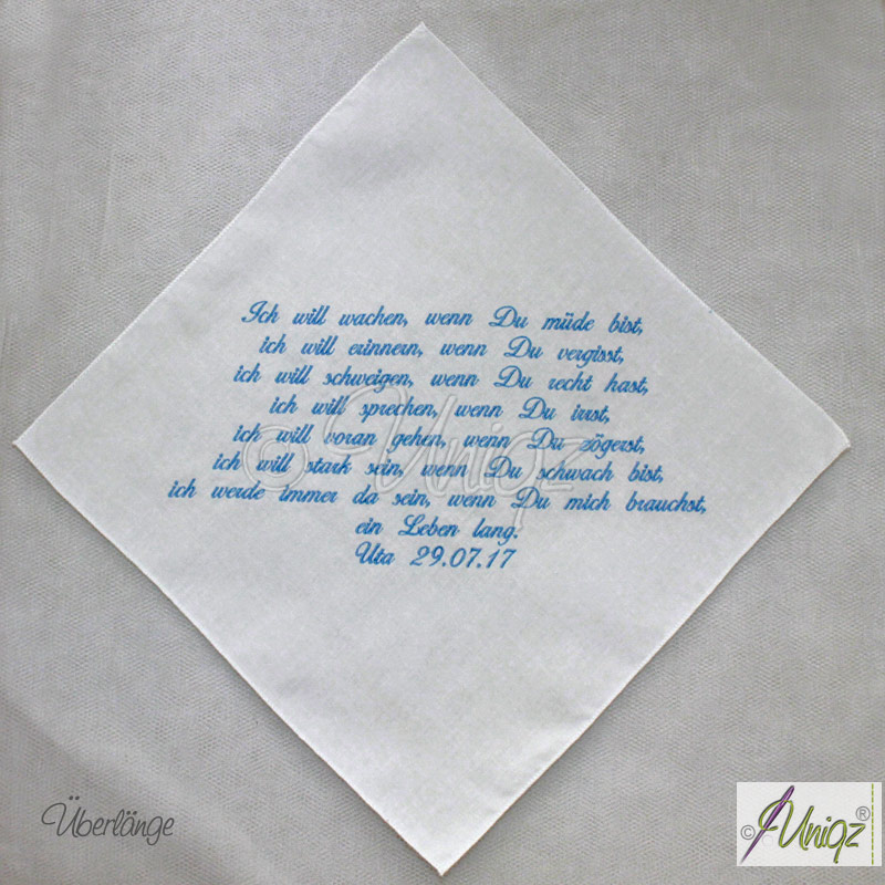 Freudentränen-Taschentuch mit Ihren Worten bestickt.