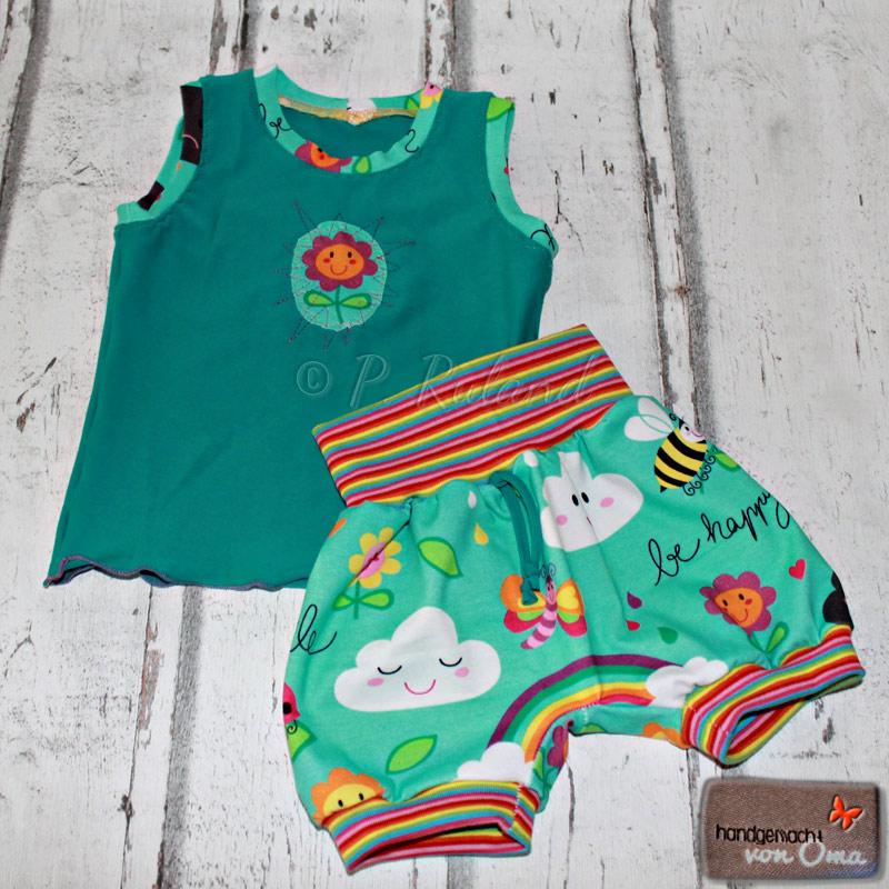 Pumphöschen mit Regenbogenbündchen mit passendem Sommertop fürs Baby