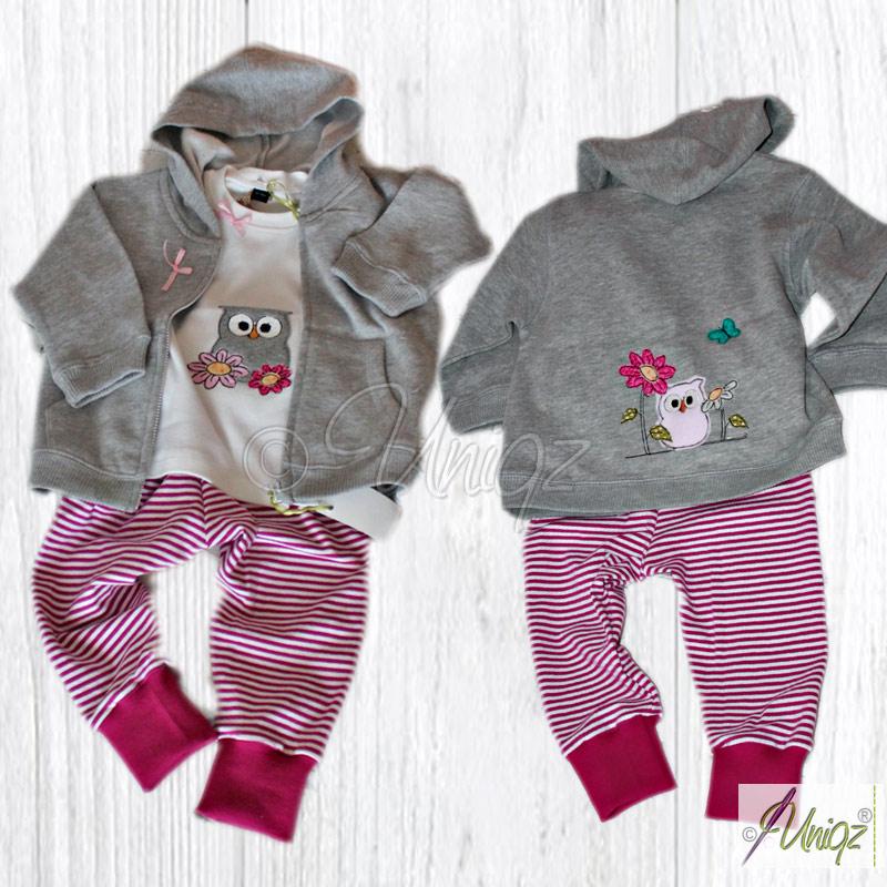 3-teiliges Babyset in grau-pink-weiß, Pumphose, Langarmshirt und Sweatjacke mit Eulen