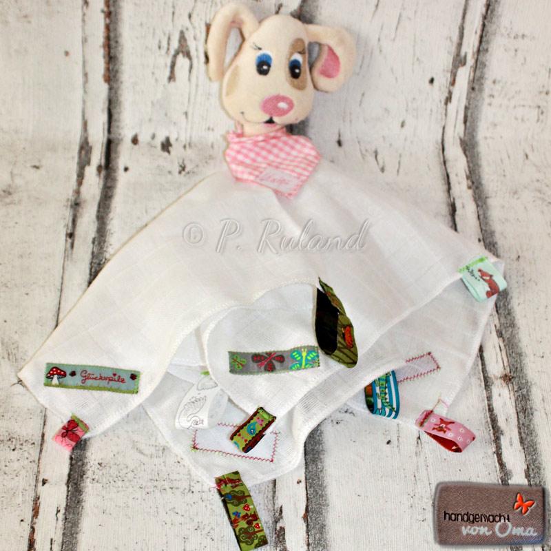 Schnuffeltuch aus Musseline mit Hundekopf aus einer Datei von Stickbär