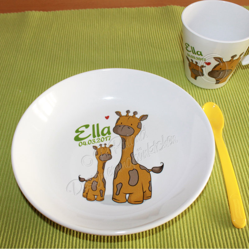 Kindergeschirr für Ella mit Namen, Geburtsdatum und Giraffen