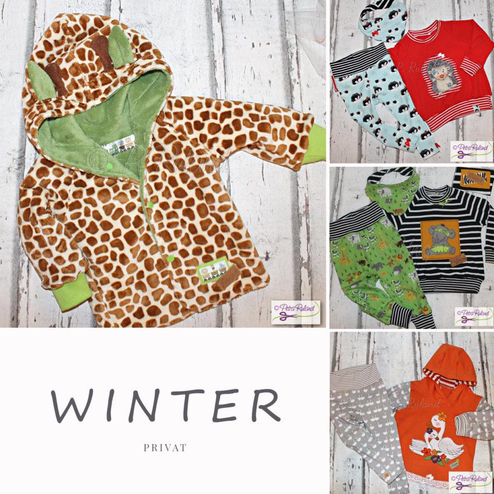 Winterkollektion fürs Enkelkind, Giraffenjacke, Outfits mit Igel, Dschungeltieren und Schwänen