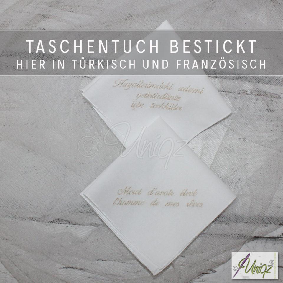 Bestickte Stofftaschentücher mit eigenem Text, hier in französisch und türkisch