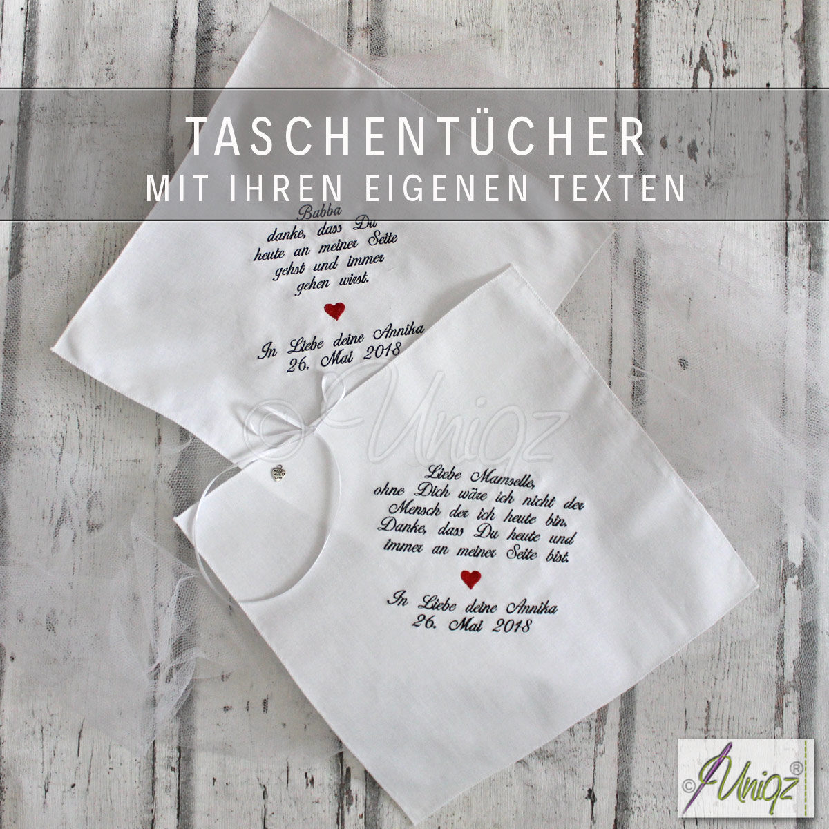 Zur Hochzeit - Freudentränentaschentücher mit Ihren eigenen Texten.