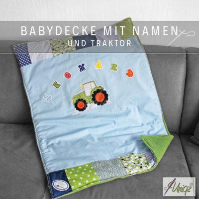 Babydecke mit Namen und Traktor