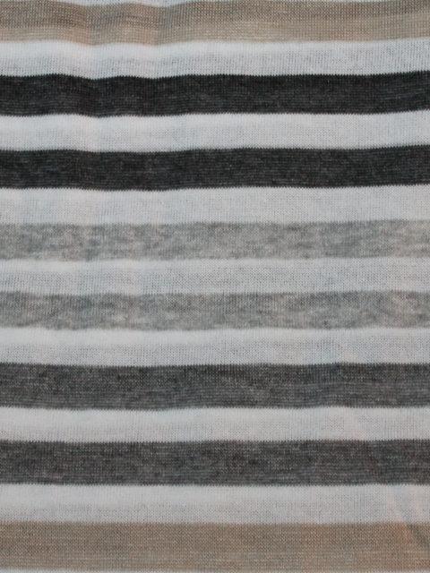 Leichter Leinen-Strick, Streifen weiß-grau-beige-meliert, ca. 100 x 200 cm