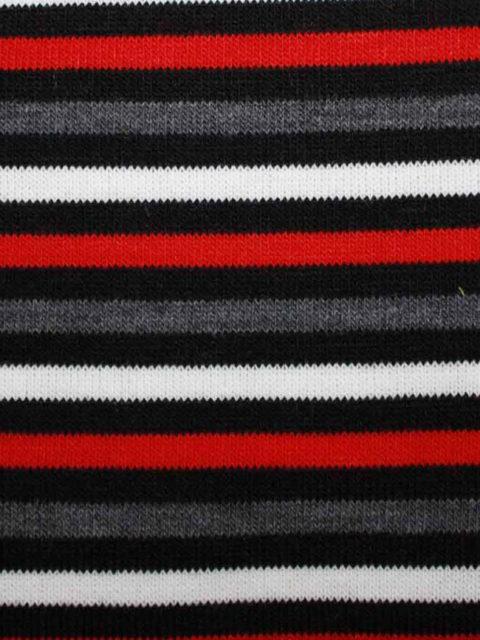 Weicher PL.-Strick, rot-grau-schwarz-weiß, ca. 80 x 140 cm   4 €