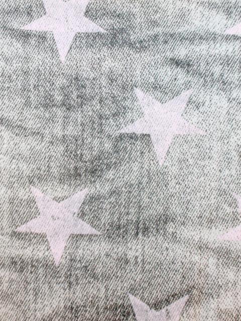 Bw.-Jersey mit Elasthan mit Jeansstruktur und Sternen, grau-rosa, ca. 150 x 140 cm | 9 €