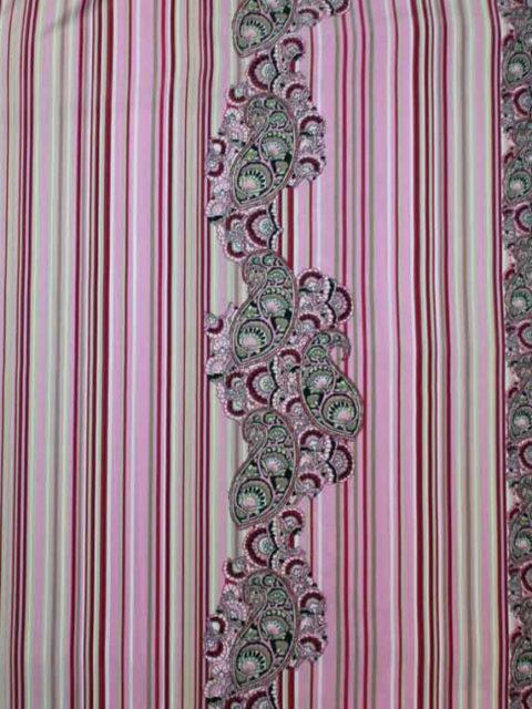 Pl-Blusen Bordüre, rosa, d.-rot, hellgrün-oliv, ca. 200 x 140 cm | 6 €