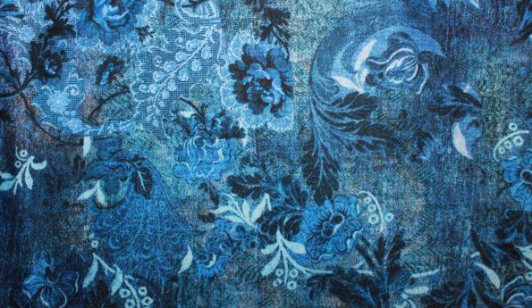 Viscose-Romanit in Blautönen, ca. 65 x 140 cm + Anschnitt | 4 €