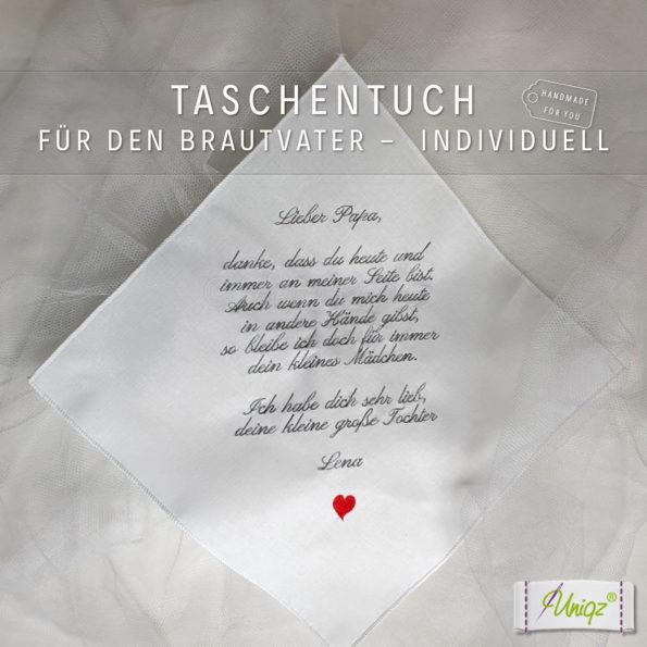 Freudentränentaschentuch für den Brautvater mit individuellem Text bestickt.