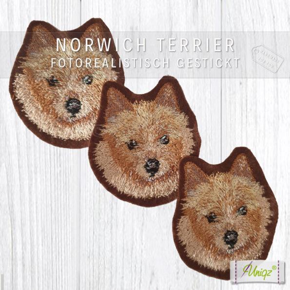 Norwich Terrier, Stickerei, Aufnäher